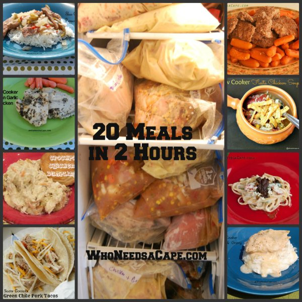 20 Meals in 2 Hours Slow Cooker Freezer Meals | Who Needs A Cape?