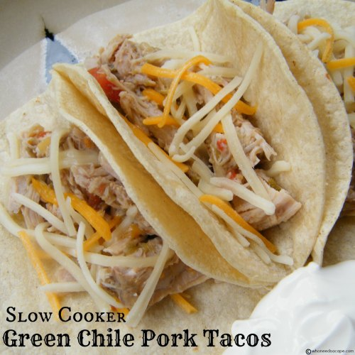 Slow Cooker Green Chile Pork Tacos | Who Needs A Cape?