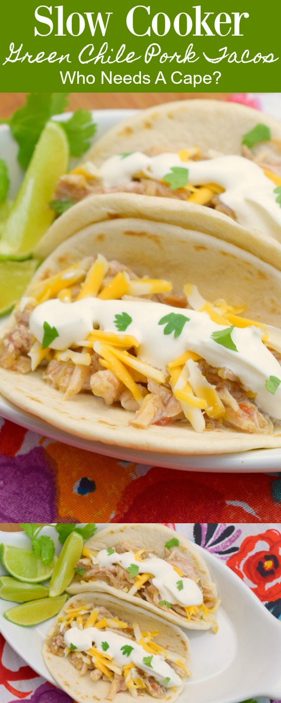 These Slow Cooker Green Chile Pork Tacos are a true family favorite and feeds a crowd! Easy to prepare in your slow cooker! Make as a freezer meal too!