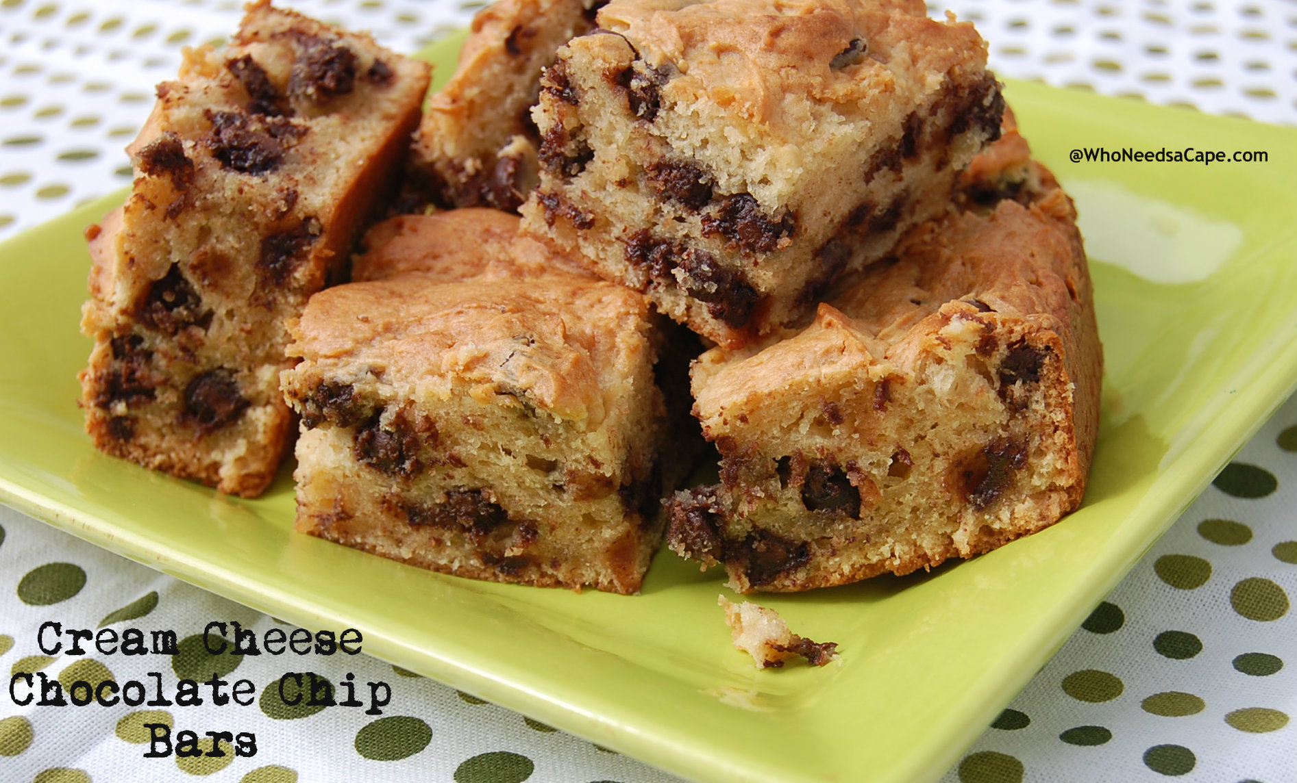 Cream Cheese Chocolate Chip Bars - Who Needs A Cape?