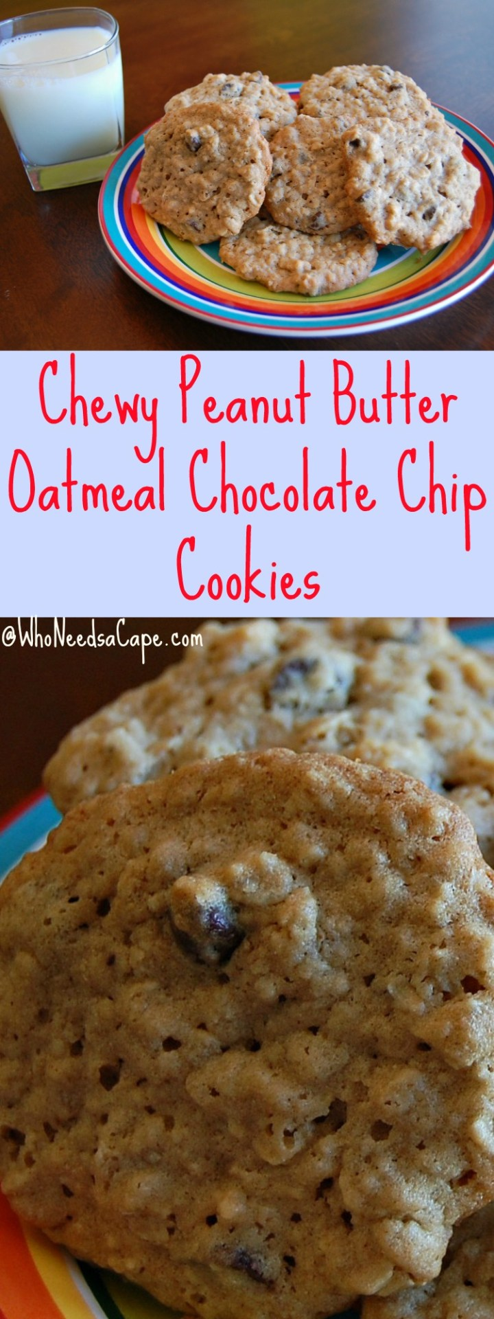 Chewy Peanut Butter Oatmeal Chocolate Chip Cookies will satisfy the cookie monsters in your house! So easy but so delicious - a must pin!