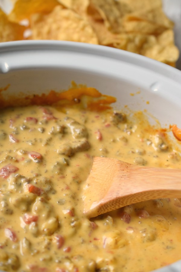 Perfect for parties or tailgating this Easy as 123 Slow Cooker Sausage Dip is always a crowd pleaser! Serves a crowd too, so delish!