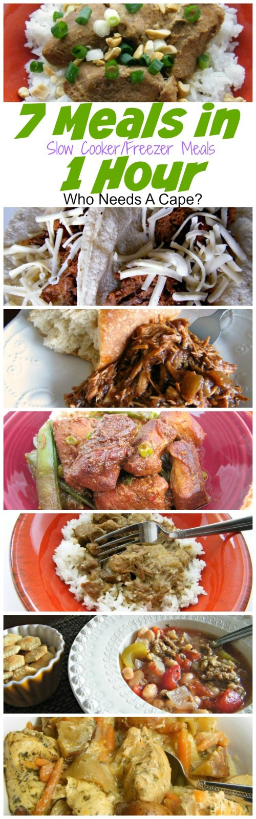 7 Meals in 1 Hour Slow Cooker Crockpot Freezer Meals. Save money by prepping, bagging and freezing 7 delicious slow cooker meals in 1 hour.