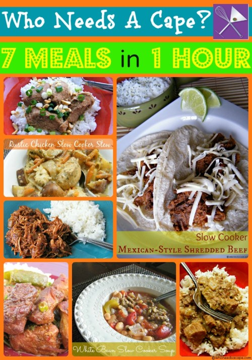 7 Meals in 1 Hour Crockpot Freezer Cooking Collage | Who Needs A Cape?