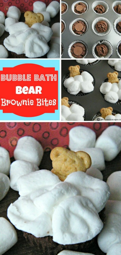 Adorable little Bubble Bath Bear Brownie Bites, kids love them! Perfect bite sized dessert for birthday parties.