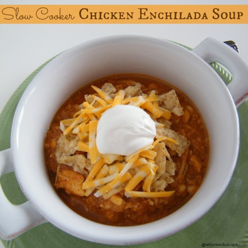 Slow Cooker Chicken Enchilada Soup | Who Needs A Cape?