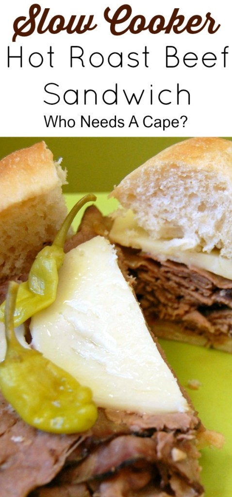 You're going to love this recipe for a Slow Cooker Hot Roast Beef Sandwich! Dinner can be on the table in 2 hours (even with the slow cooker!)