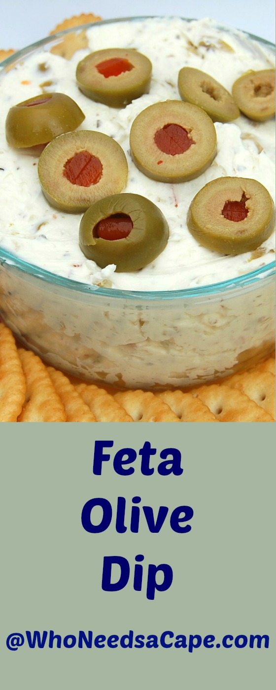 Feta Olive Dip lets you put together a fantastic app in 5 minutes. Serve this for football or cocktails! Who Needs a Cape