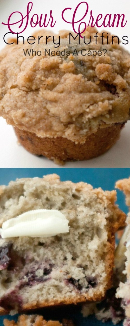 These are the most moist muffins I have ever had. Sour Cream Cherry Muffins are the perfect quick breakfast food and go wonderfully with a nice cup of tea.