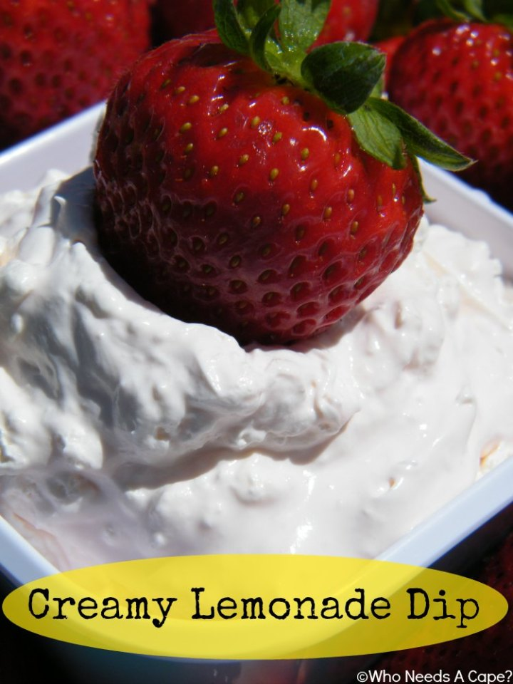 Creamy Lemonade Dip is great for fruit trays, fresh berries or to snack on with graham crackers. Easy 3 ingredient recipe that tastes delicious.