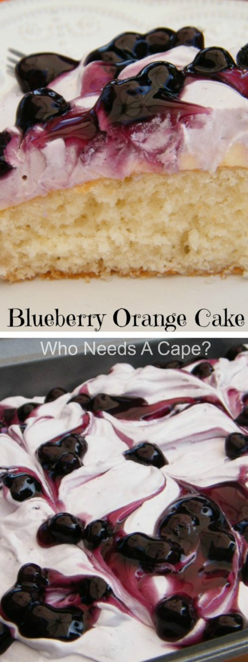 Blueberry Orange Cake is a fabulously simple dessert. Creamy, fruity and delicious, your guests will love the flavor combination!| Who Needs A Cape?