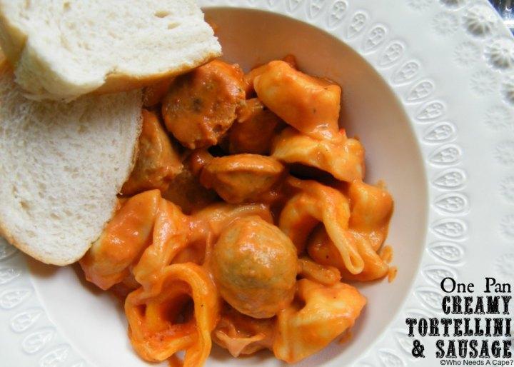 One Pan Creamy Tortellini & Sausage   Who Needs A Cape? #onepanmeals #30minutemeals #tortellini #sausage #easydinner