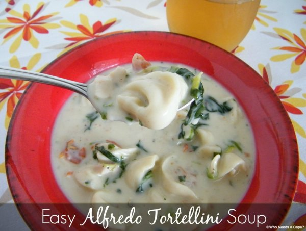 Easy Alfredo Tortellini Soup | Who Needs A Cape?