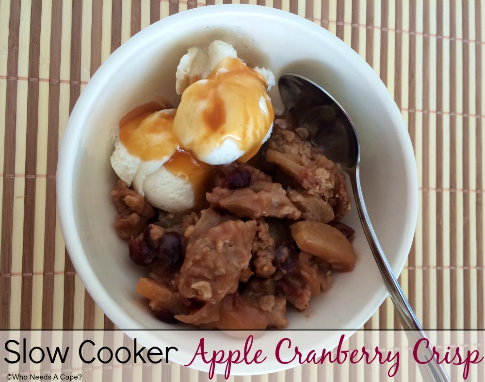 This Slow Cooker Apple Cranberry Crisp is so easy, yet so delicious! A great dessert without much work, throw into your slow cooker and enjoy the aroma.