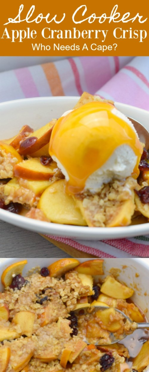 white bowl containing slow cooker apple cranberry crisp, scoop of vanilla ice cream and caramel sauce next to pastel striped fabric