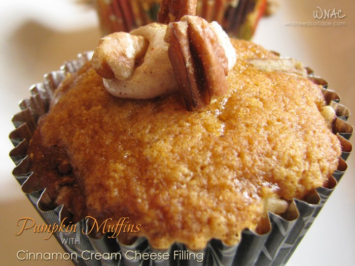 Pumpkin Muffins with Cinnamon Cream Cheese Frosting   Who Needs A Cape?