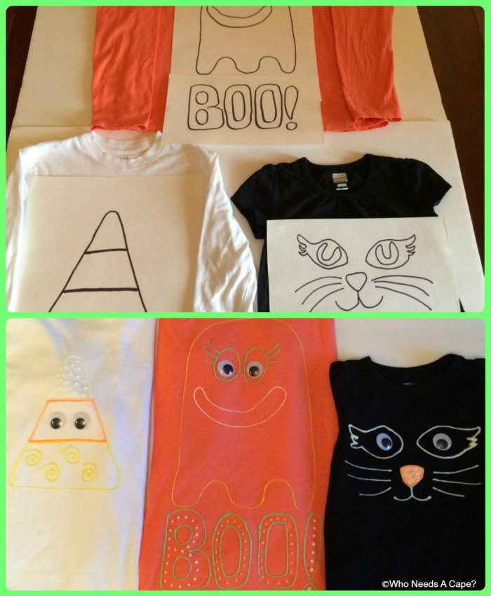 DIY Glow in the Dark Halloween Shirts | Who Needs A Cape?