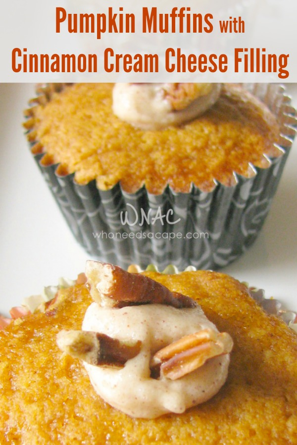Pumpkin Muffins with Cinnamon Cream Cheese Filling, a great fall breakfast or snack. Delicious autumn flavors make for a perfect addition to brunch.