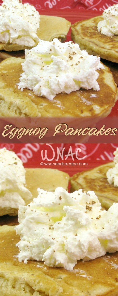 Eggnog Pancakes are the perfect morning treat during the holiday season! Whether Christmas morning or weekend brunch, they are delicious!