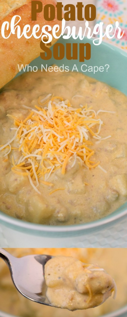 Potato Cheeseburger Soup has tender chunks of potato, ground beef, and cheesy goodness all mixed together. Definitely a family favorite that's sure to please!