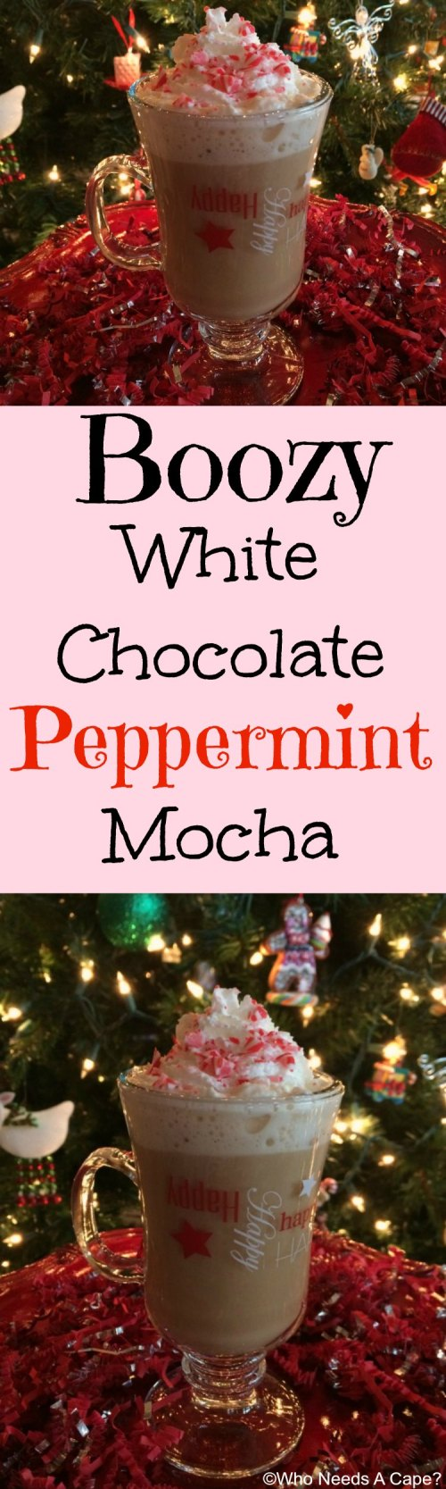 This Boozy White Chocolate Peppermint Mocha is the perfect drink for adults looking to warm up on a cold winter day. The flavors blend deliciously.