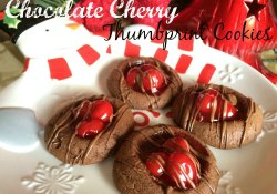 Chocolate Cherry Thumbprint Cookies