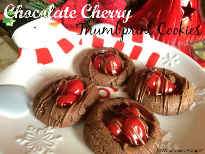Chocolate Cherry Thumbprint Cookies | Who Needs A Cape?