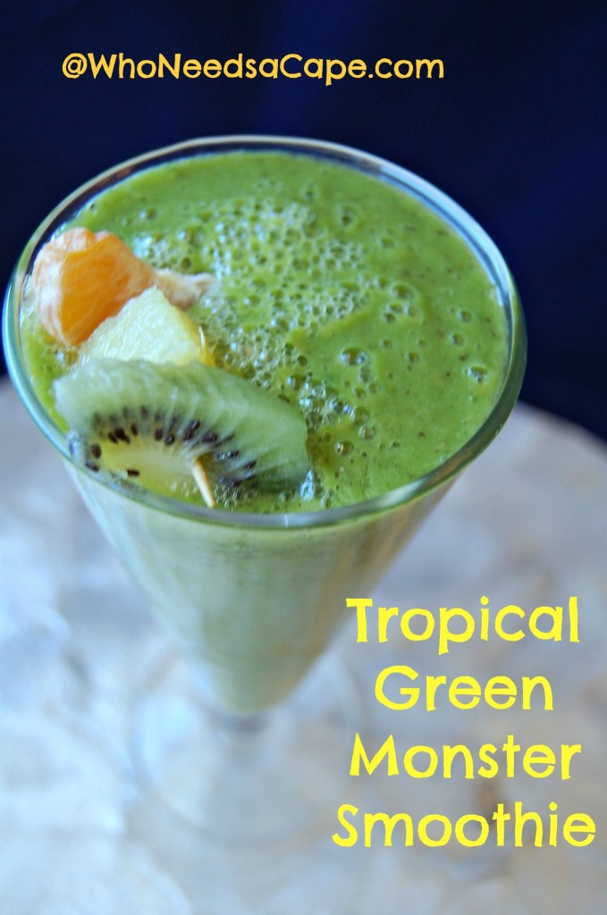 Tropical Green Monster Smoothie is perfect for Breakfast - give your morning a nutritional BOOST! Start off by getting your veggies and fruit! YUM