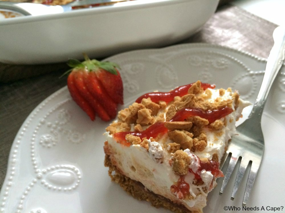 Almost no bake peanut butter jelly dessert for Desserts to make with peanut butter