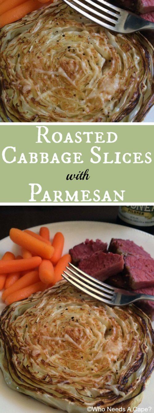 You'll be amazed at the flavor in these Roasted Cabbage Slices with Parmesan! Great vegetable for St. Patrick's Day meals.