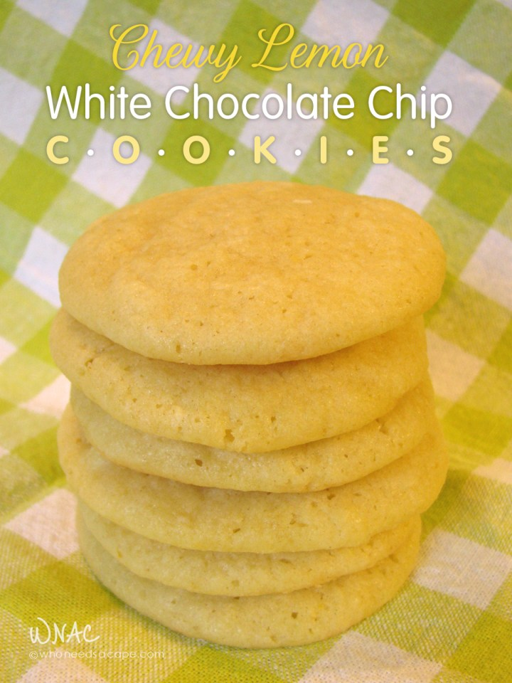 Chewy Lemon White Chocolate Chip Cookies ~ Lemon cookies sweetened with the smoothness of white chocolate chips. Perfect for spring gatherings and teas.