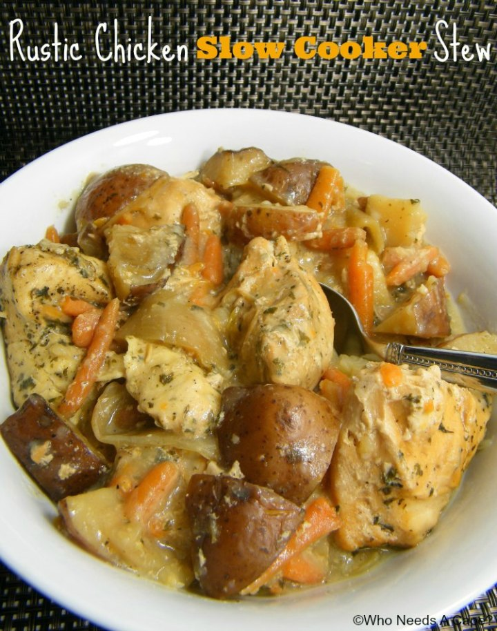 Rustic Chicken Slow Cooker Stew, a hearty dish that the whole family will enjoy. Tender chicken, carrots, potatoes in a thick sauce, the perfect combination.