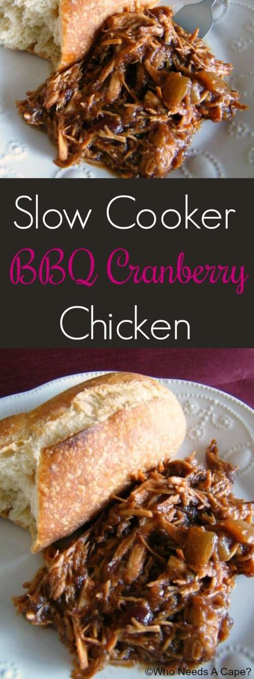 Tangy and sweet, that's what you'll find in this easy Slow Cooker BBQ Cranberry Chicken dish. You can even prep ahead of time and freeze for an easy meal.