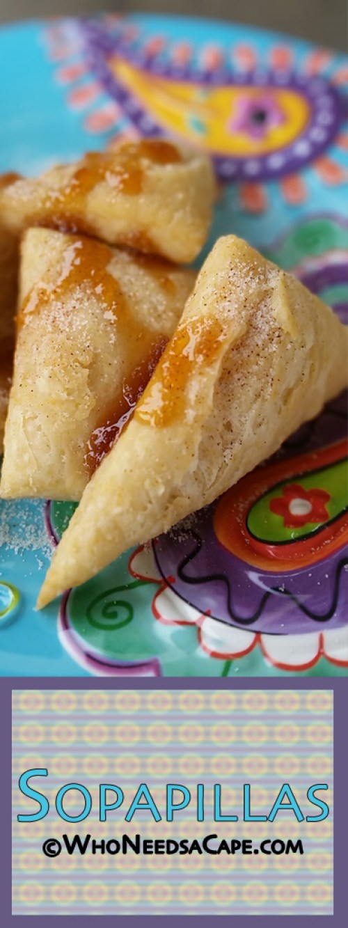 Sopapillas are a fried pastry that can be served sweet or savory. Great sprinkled with cinnamon & sugar then drizzled with honey. Cinco de Mayo favorite!