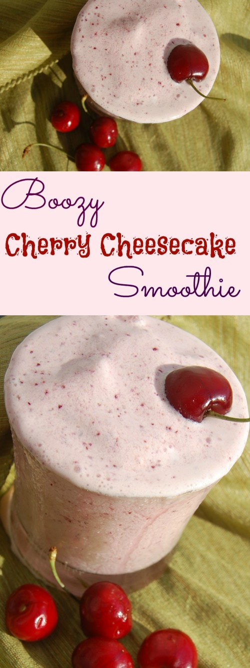 Boozy Cherry Cheesecake Smoothie is a perfect way to start summer - a delicious dessert cocktail made with fresh fruit - it's a must for the summer!