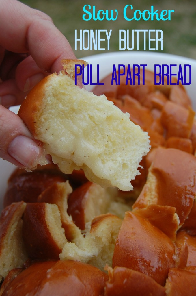 Slow Cooker Honey Butter Pull Apart Bread is a great dessert to make! Amazing flavor from your crockpot, and so easy to prepare!