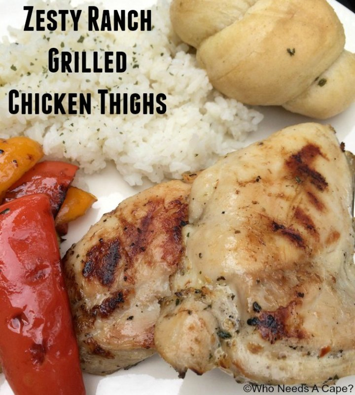 Get the grill fired up and serve some Zesty Ranch Grilled Chicken Thighs. You'll love the how tasty they grill up, great warm weather dinner!