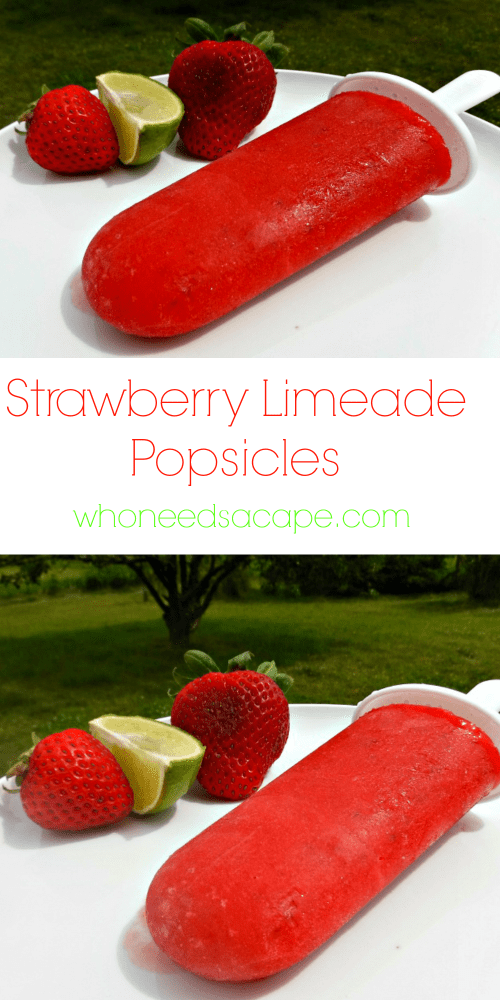 Strawberry Limeade Popsicles are another great way to beat the summer heat! They are also a great for the kids to help make. Simple summer treat!
