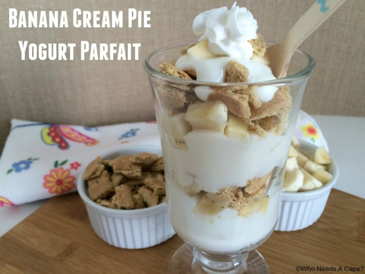 Hungry for a delicious easy dessert? Try this Banana Cream Pie Yogurt Parfait, a family favorite that leaves you feeling good about snacking!
