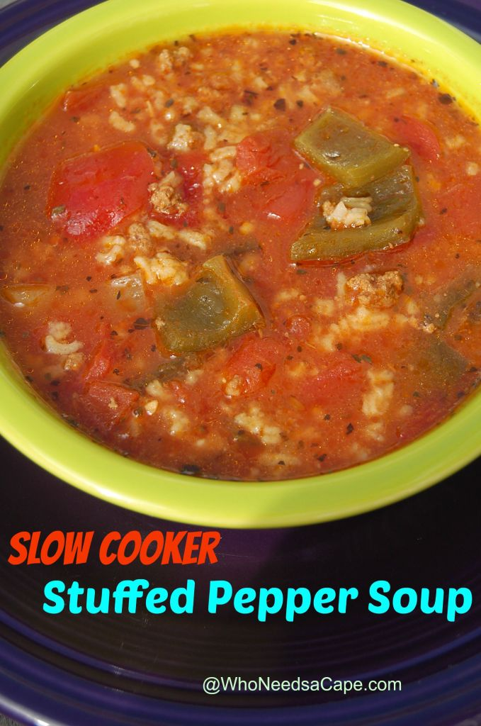 Slow Cooker Stuffed Pepper Soup is a great alternative to the time consuming stuffed peppers. Delicious & easy dinner that's also a great freezer meal!