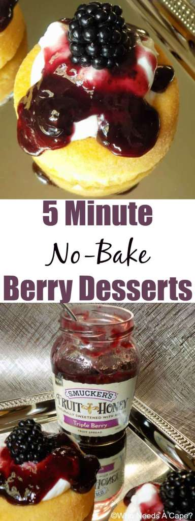 Need a yummy dessert in a jiffy? Make these delicious 5 Minute No-Bake Berry Desserts, you'll be in and out of the kitchen in a snap and they are so good!