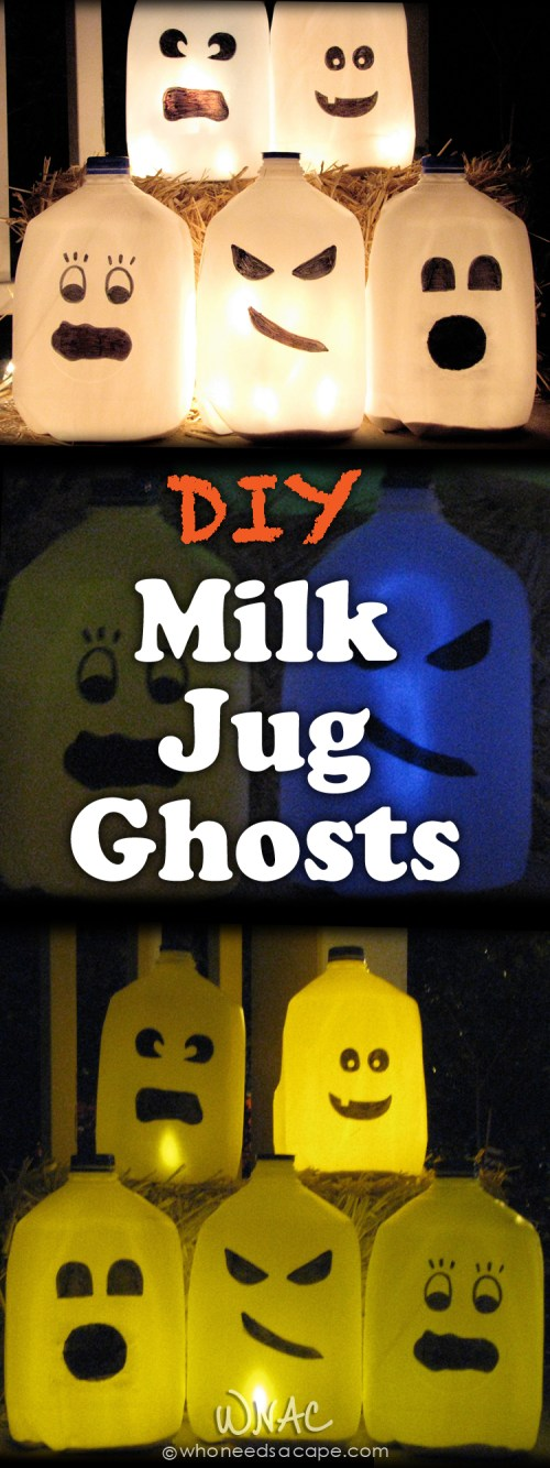 DIY Milk Jug Ghosts ~ Great way to repurpose those white milk jugs into a gang of ghastly ghouls! Great family Halloween project!