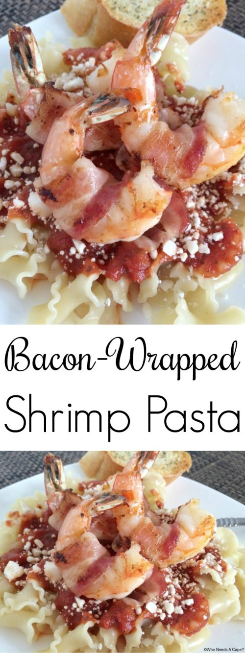This Bacon-Wrapped Shrimp Pasta is a restaurant quality meal you can create at home. Simple to make and a family favorite, the flavors just pop.