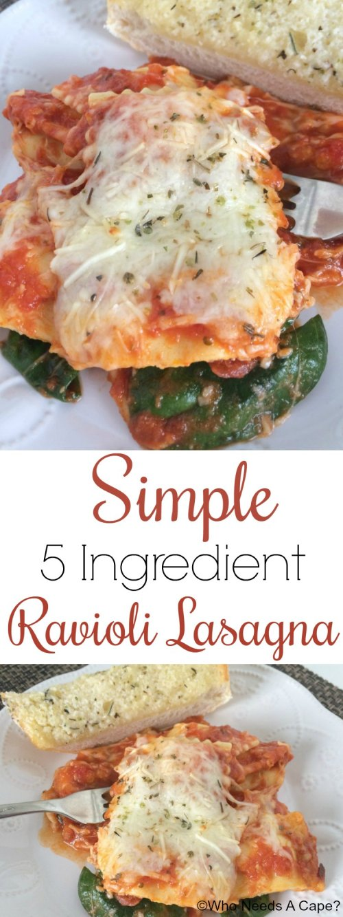 This Simple 5 Ingredient Ravioli Lasagna is a busy weeknight favorite at my house. Delicious and easy, your family will enjoy this quick dish for dinner.