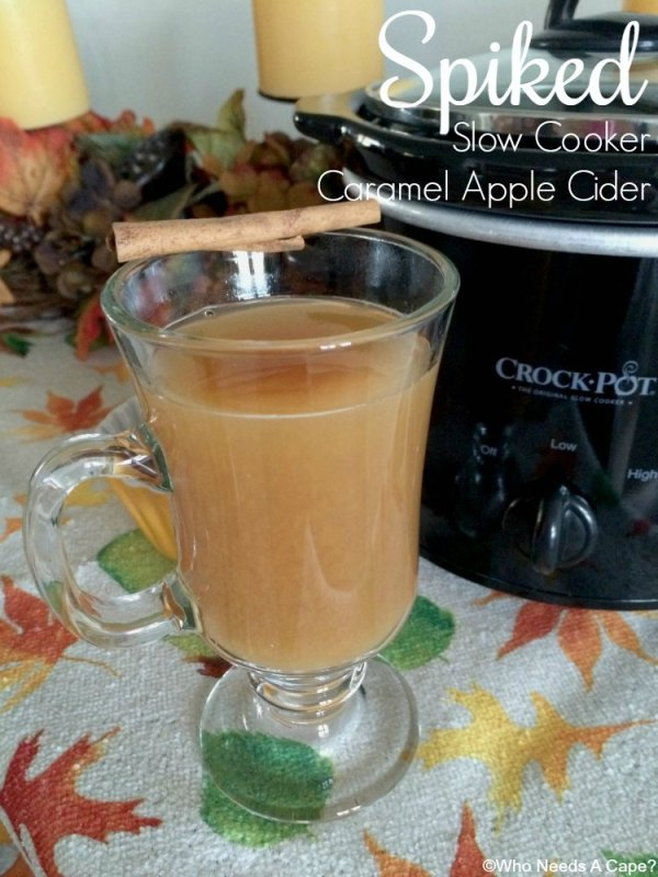 Need a fun adult beverage for your next gathering? Make this 3 ingredient Spiked Slow Cooker Caramel Apple Cider, so delicious. Your guests will love it.