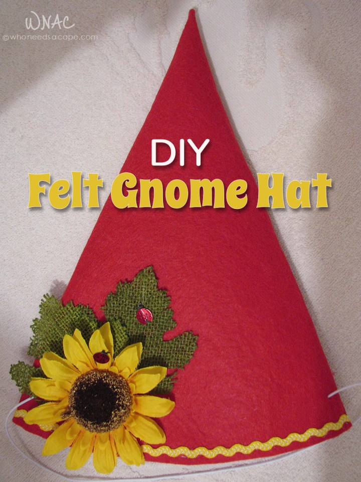 DIY Felt Gnome Hat ~ Here's a fun and easy way to make your little gnome's hat for their ghoulish night! Great DIY Halloween costume!