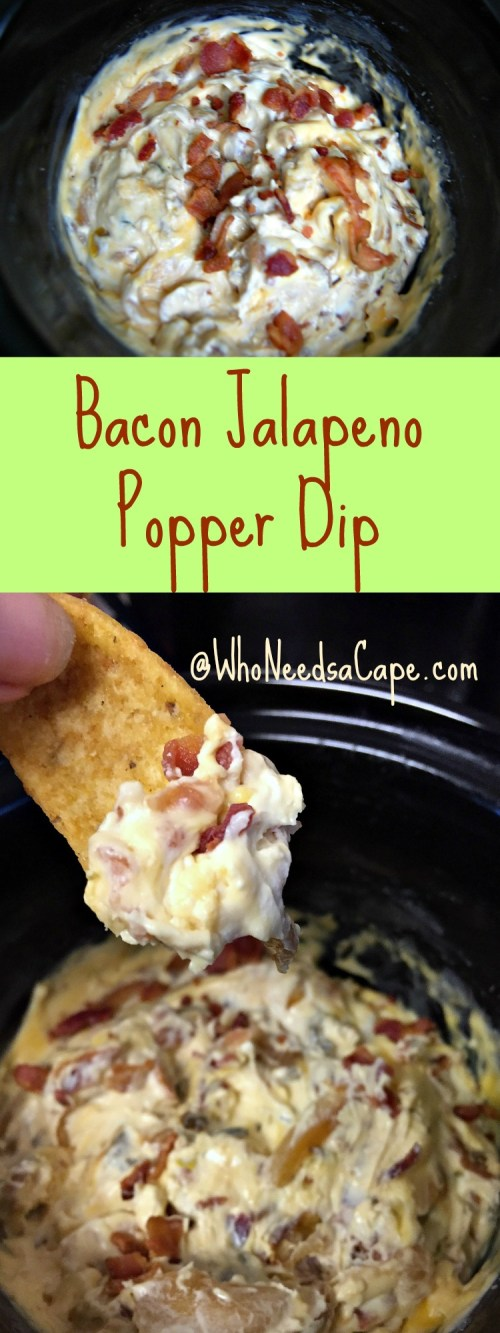 Use your Slow Cooker to make Delicious Bacon Jalapeno Popper Dip. Such an easy appetizer from your crockpot, absolutely delish!