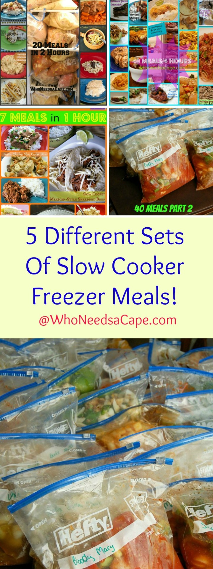 5 Different Sets of Slow Cooker Freezer Meals - Pick which one you'll make 7 Meals, 20 Meals, 30 Meals and 2 sets of 40 Meals - a MUST PIN So many ideas and choices