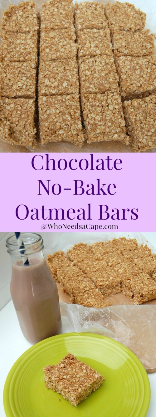Chocolate No-Bake Oatmeal Bars are a super easy and nutritious treat for the whole family (especially after school snacks!)