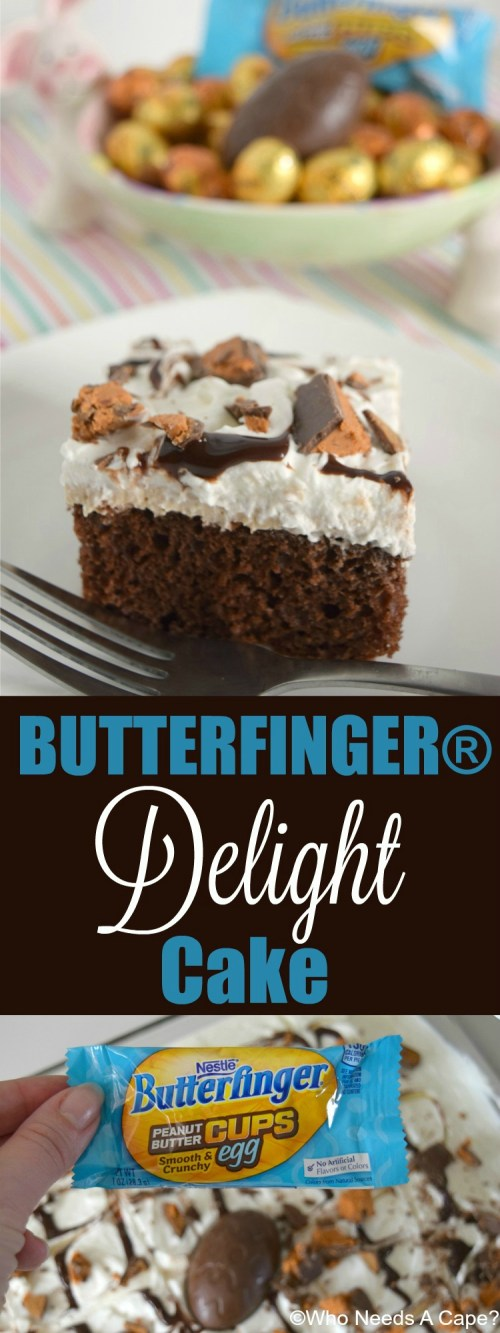 Delicious BUTTERFINGER® Delight Cake with layers of chocolate, peanut butter and whipped cream! Perfect for holidays, it'll be a hit! | Who Needs A Cape?
